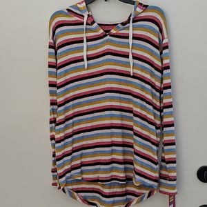 Multicolor hooded v-neck sweater